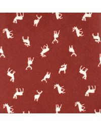 John Lewis Red Stag Print Woven Silk Tie for men