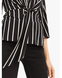 Oasis Black Stripe Tie Front Top