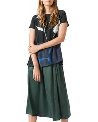 Jigsaw Blue Heavy Satin Fluid Skirt