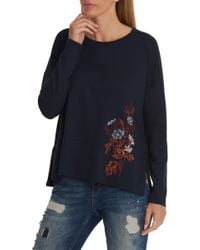 Betty & Co. Blue Embroidered Sweat Top