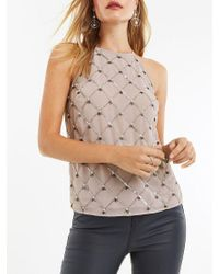 Oasis Gray Embellished Halterneck Top