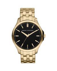 Armani Exchange Metallic Ax2145 Men's Gold Plated Bracelet Strap Watch for men