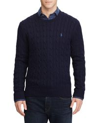 Ralph Lauren Blue Polo Long Sleeve Cable Crew Sweater for men