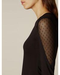 Karen Millen Black Lace Insert Jersey Top