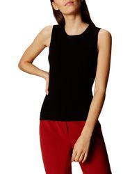 Karen Millen | Black Bubble Stitch Knit Tank Top | Lyst