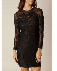 Karen Millen Black Applique Floral Lace Dress