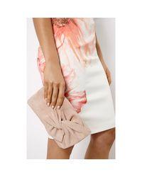 Karen Millen - Natural Suede Bow Clutch Bag - Lyst