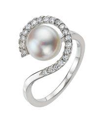 John Lewis Metallic A B Davis Pearl Cubic Zirconia Surround Ring