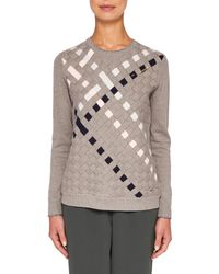 Ted Baker - Gray Colour By Numbers Yessica Woven Front Cotton Jumper - Lyst