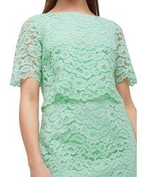 Jacques Vert Green Cape Bodice Lace Dress