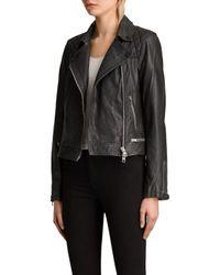 AllSaints Black Conroy Leather Jacket