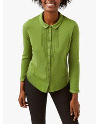 White Stuff Green Marigold Dream Cotton Ladder Petal Collar Shirt