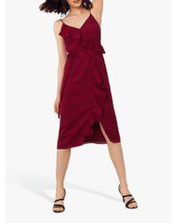 Oasis Red Stripe Frill Midi Dress
