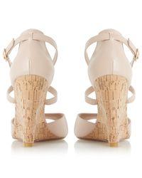 Dune Natural Kasino Cross Strap Wedge Sandals