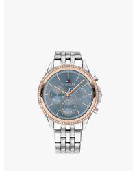 Tommy Hilfiger Blue Chronograph Crystal Bracelet Strap Watch