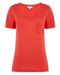 Warehouse Red Open Back Shell Top