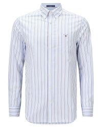 Gant Blue Regular Fit Poplin Banker Stripe Shirt for men