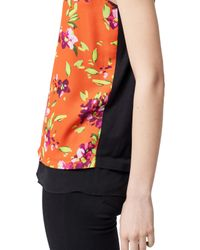 Warehouse Multicolor Floral Print Shell Top