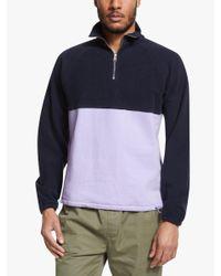 Les Basics Blue Le Zip Sweat Colour Block Sweatshirt for men