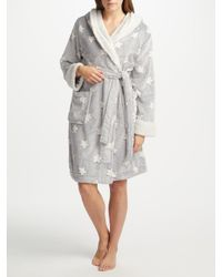 John Lewis - Gray Star Embossed Fleece Dressing Gown - Lyst
