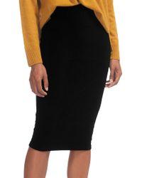 Whistles Black Velvet Jersey Tube Skirt