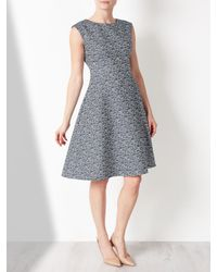 John Lewis Blue Fit And Flare Textured Dress