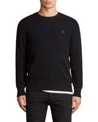 AllSaints Black Mert Waffle Crew Neck Jumper for men