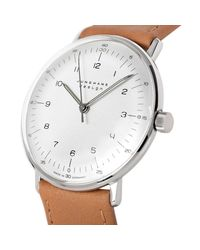 Junghans Brown 027/3701.00 Men's Max Bill Self-winding Stainless Steel Leather Strap Watch for men