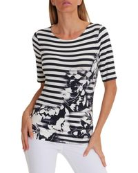 Betty Barclay Blue Embellished Floral Print T-shirt