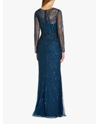 Adrianna Papell Blue Embellished Mermaid Gown