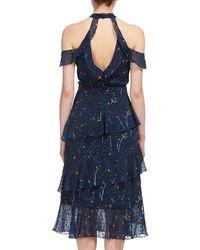 Whistles Blue Wheatsheaf Cold Shoulder Dress