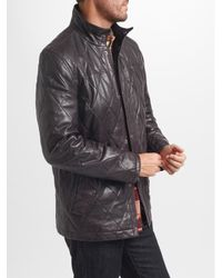 John Lewis - Brown Quilted Leather Jacket - Lyst