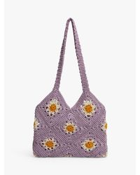 Mango Purple Flowers Crochet Bag