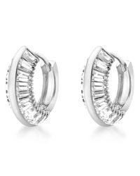 Ib&b - 9ct White Gold Cubic Zirconia Huggy Earrings - Lyst