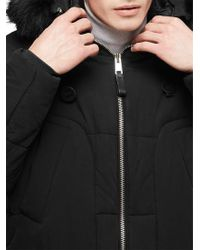 Reiss Black Colarado Faux Fur Hood Parka Jacket for men