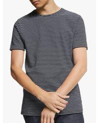 Wax London Black Finham Stripe T-shirt for men