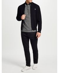 Fred Perry Black Knitted Bomber Cardigan for men
