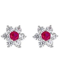 Ib&b Pink 9ct White Gold Flower Cluster Stud Earrings