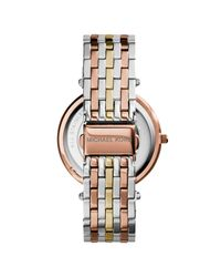 Michael Kors Pink Mk3203 Women's Darci Tri Tone Bracelet Strap Watch