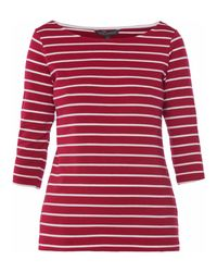 French Connection Red Eso Tim Tim Stripe Utility T-shirt