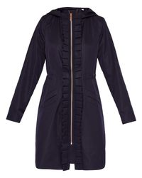 Ted Baker Blue Zowe Ruffle Detail Hooded Parka