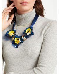 John Lewis - Blue Resin Flower Necklace - Lyst