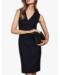 Reiss Blue Hartley V-neck Tailored Dress