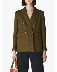 Whistles Green Linen Double Breasted Blazer