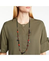 One Button Multicolor Long Bead Necklace