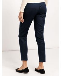 Oasis Blue Compact Cotton Trousers