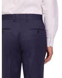 Jaeger - Blue Plain Twill Regular Fit Trousers for Men - Lyst
