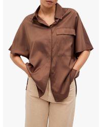 Mango Brown Oversized Satin Shirt