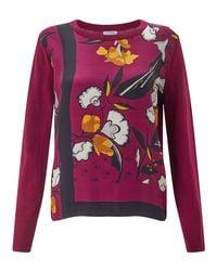 John Lewis Multicolor Jigsaw Nordic Floral Border Silk Front Top