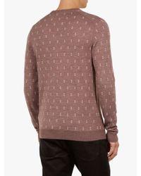Ted Baker Pink Geo Knit Wool Jumper for men